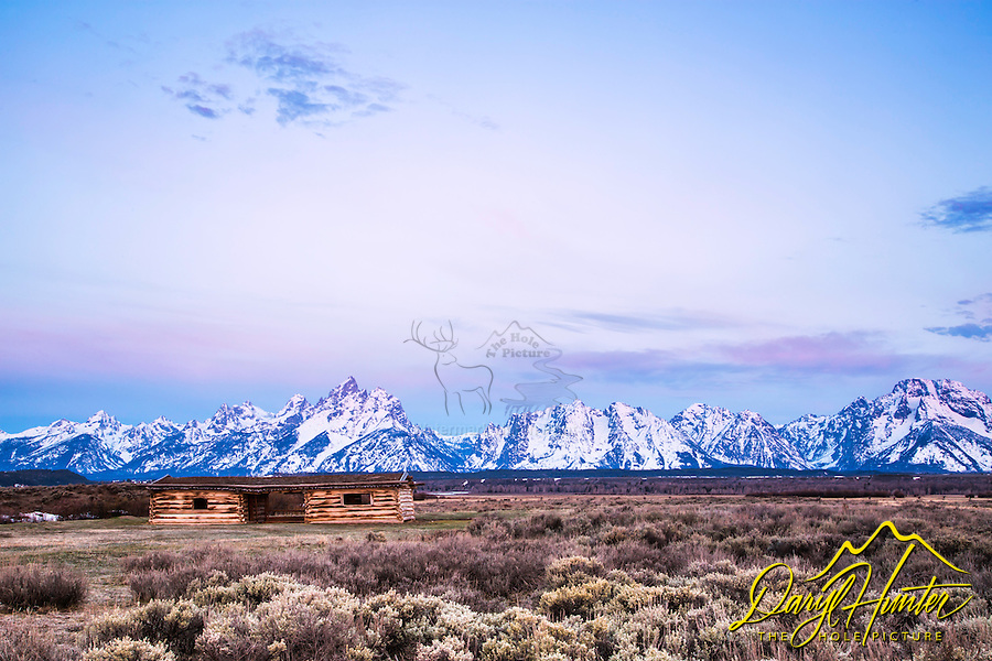 Jackson Hole sunrise at the Cunning Cabin in Grand Teton National Park.