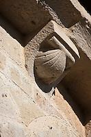 Europe/France/Midi-Pyrénées/32/Gers/Valence-sur-Baïse: Abbaye de Flaran - le chevet - détail des modillons - Coquille Saint-Jacques