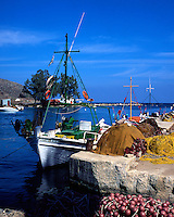 Traditional fishing boats and nets at Georgioupolis.village. Western Crete, Greece
