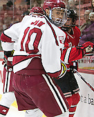 Brayden Jaw (Harvard - 10) - The Harvard University Crimson defeated the visiting Rensselaer Polytechnic Institute Engineers 5-2 in game 1 of their ECAC quarterfinal series on Friday, March 11, 2016, at Bright-Landry Hockey Center in Boston, Massachusetts.