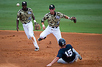 May 19, 2012: UCF infielder Travis Shreve (1) turns the double play  during C-USA NCAA baseball game 3 action between the Rice Owls and the UCF Knights. Rice defeated UCF 5-2 to win the series  at Jay Bergman Field in Orlando, FL