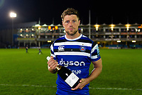 Bath Rugby Man of the Match Rhys Priestland with his bottle of Pol Roger champagne. Gallagher Premiership match, between Bath Rugby and Exeter Chiefs on October 5, 2018 at the Recreation Ground in Bath, England. Photo by: Patrick Khachfe / Onside Images