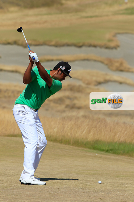 Tony Finau (USA) tees off the 7th tee during Sunday's Final Round of the 2015 U.S. Open 115th National Championship held at Chambers Bay, Seattle, Washington, USA. 6/21/2015.<br /> Picture: Golffile   Eoin Clarke<br /> <br /> <br /> <br /> <br /> All photo usage must carry mandatory copyright credit (&copy; Golffile   Eoin Clarke)