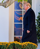 US President Donald J. Trump walks to Marine One before departing the White House in Washington, DC, USA, 24 October 2018. Trump was headed to Wisconsin for a campaign rally.<br /> Credit: Erik S. Lesser / Pool via CNP