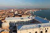 ITALY, Venice. A view of Venice, the domes of St. Mark's Basilica, the Doge's Palace and the Grand Canal from St. Mark's Campanile, the bell tower at St. Mark's Square.