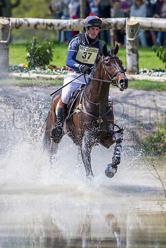07.05.2016. Badminton House, Badminton, England. Mitsubishi Motors Badminton Horse Trials. Day Four. Ben Way (GBR) riding 'Galley Light' during the cross country element of The Mitsubishi Motors Badminton Horse Trials.
