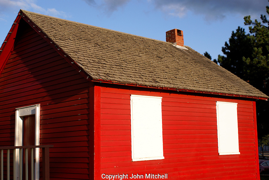 The Little Red School House next to Barbour's General Store in the city of Saint John, New Brunswick, Canada
