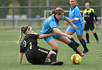 20190427 - Waregem , BELGIUM : Silke Willem (L) and Brookelynn Cooreman (R)   pictured during the final of the Beker van West-Vlaanderen 2019 , a soccer women game between SV Bredene and Famkes Westhoek Diksmuide Merkem B  , in the  Mirakelstadion in Waregem , Satuday 27 th April 2019 . PHOTO SPORTPIX.BE | DIRK VUYLSTEKE