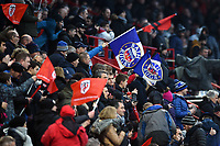 Bath Rugby fans in the crowd wave flags in support. Heineken Champions Cup match, between Stade Toulousain and Bath Rugby on January 20, 2019 at the Stade Ernest Wallon in Toulouse, France. Photo by: Patrick Khachfe / Onside Images