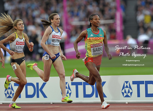 Besu Sado (ETH) leads Laura Muir (GBR) in the womens 1500m heats. IAAF World athletics championships. London Olympic stadium. Queen Elizabeth Olympic park. Stratford. London. UK. 04/08/2017. ~ MANDATORY CREDIT Garry Bowden/SIPPA - NO UNAUTHORISED USE - +44 7837 394578