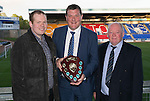 St Johnstone Player of the Year Awards 2014-15.....16.05.15<br /> Kevin and George Mallis present the Auchterarder Saints Clubman of the Year Award to Tommy Wright<br /> Picture by Graeme Hart.<br /> Copyright Perthshire Picture Agency<br /> Tel: 01738 623350  Mobile: 07990 594431