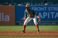Greensboro Grasshoppers shortstop Osiris Johnson (1) on defense against the West Virginia Power at First National Bank Field on August 9, 2018 in Greensboro, North Carolina. The Power defeated the Grasshoppers 5-3 in game one of a double-header. (Brian Westerholt/Four Seam Images)