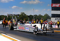 Aug. 17, 2013; Brainerd, MN, USA: NHRA top fuel dragster driver Chris Karamesines during qualifying for the Lucas Oil Nationals at Brainerd International Raceway. Mandatory Credit: Mark J. Rebilas-