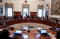 Giuseppe Conte starts the first Minister's cabinet ringing the bell, in a general view of the table<br /> Rome September 5th 2019. Palazzo Chigi. Ceremony of the bell for the new appointed premier.<br /> Foto  Samantha Zucchi Insidefoto