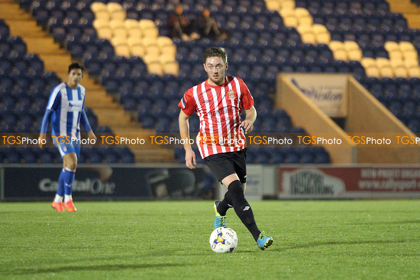 Joe May of Hornchurch with the ball during Colchester United vs AFC Hornchurch, BBC Essex Senior Cup Football at the Weston Homes Community Stadium, Colchester, England on 03/11/2015