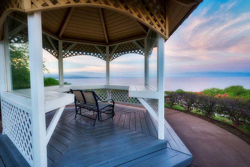 Gazibo and sunrise at Kohola Ranch, Hawaii . The Big Island