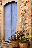 Blue door in Fabrica La Aurora Art and Design Center, San Miguel de Allende, Mexico. San Miguel de Allende is a UNESCO World Heritage Site....