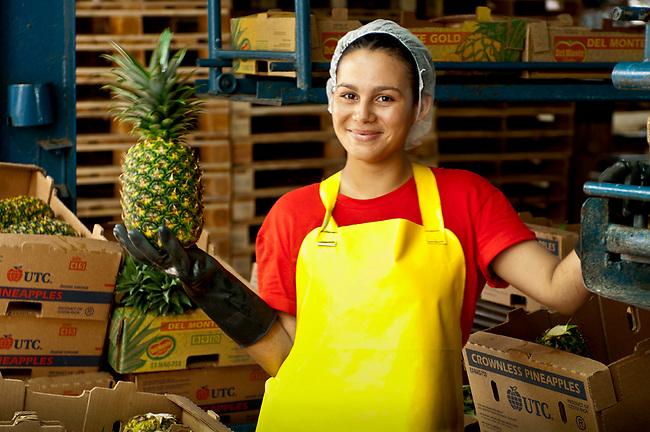 Costa Rica, La Virgen de Sarapiqui, Pineapple Factory, Woman Inspector