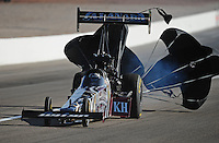 Mar. 31, 2012; Las Vegas, NV, USA: NHRA top fuel dragster driver Shawn Langdon during qualifying for the Summitracing.com Nationals at The Strip in Las Vegas. Mandatory Credit: Mark J. Rebilas-US PRESSWIRE