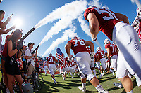 STANFORD, CA - SEPTEMBER 21: The Stanford Cardinal run out to the field during a game between University of Oregon and Stanford Football at Stanford Stadium on September 21, 2019 in Stanford, California.