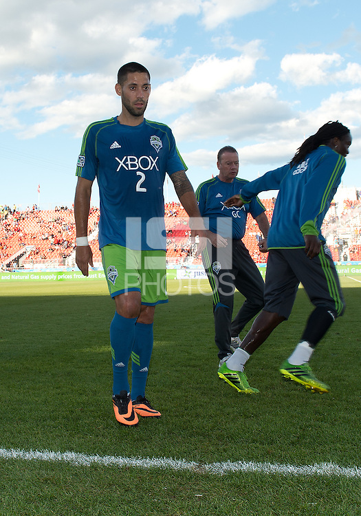 August 10, 2013: Seattle Sounders FC forward Clint Dempsey #2 walks off the pitch after warm up during an MLS regular season game between the Seattle Sounders and Toronto FC at BMO Field in Toronto, Ontario Canada.<br /> Seattle Sounders FC won 2-1.