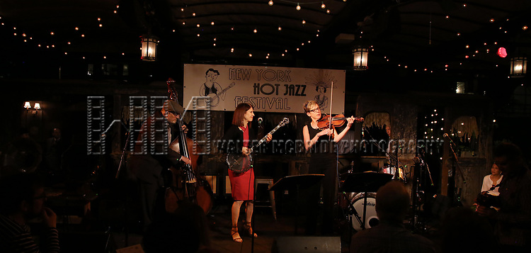 Cynthia Sayer performs at the New York Hot Jazz Festival own September 30, 2018 at The McKittrick Hotel in New York City.