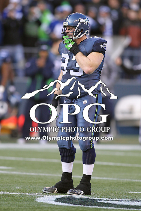 December 19, 2010:  Seattle Seahawks defensive tackle #93 Craig Terrill sets up on defense against Atlanta.  Atlanta defeated Seattle 34-18 at Quest Field in Seattle, WA.