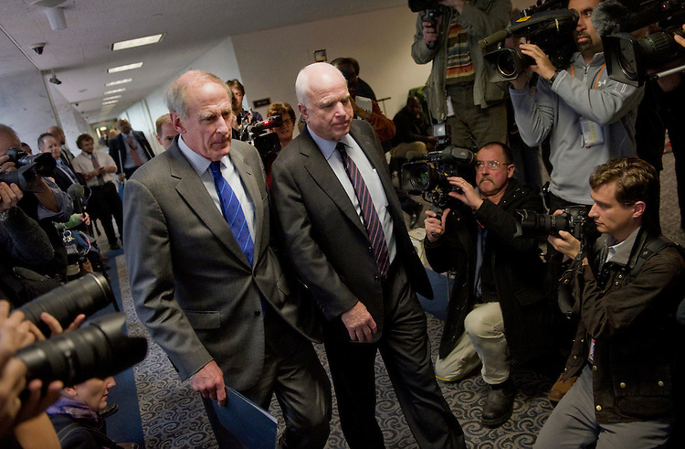 UNITED STATES - NOVEMBER 15: Sen. Dan Coats, R-Ind., and Sen. John McCain, R-Ariz., arrive for a Senate (Select) Intelligence Committee closed hearing on the Benghazi Terrorist Attack. (Photo By Chris Maddaloni/CQ Roll Call)