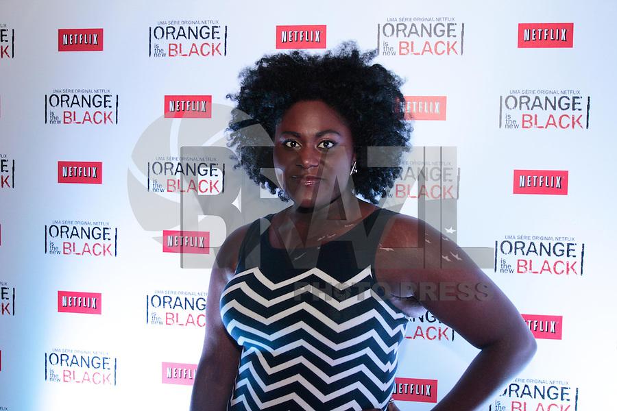 """SÃO PAULO, SP - 15.07.2013: COQUETEL ORANGE IS THE NEW BLACK - Danielle Brooks (Modern Love), da série original da Netflix, """"Orange is The New Black"""", durante  um coquetel que acontece no Blá Bar, em São Paulo nesta segunda-feira (15), Piper Kerman, autora do livro que deu origem à série, executivos da Netflix e convidados especiais também estiveram presentes para celebrar o recente lançamento da série no Brasil. (Foto: Marcelo Brammer / Brazil Photo Press)."""