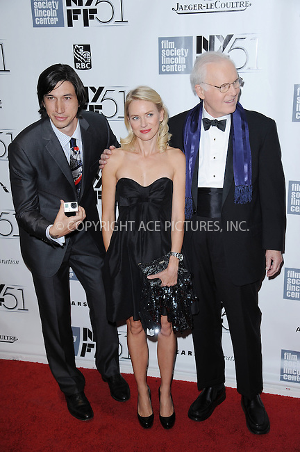WWW.ACEPIXS.COM<br /> September 27, 2013 New York City<br /> <br /> Adam Driver, Naomi Watts and Charles Grodin attend the opening night gala world premiere of 'Captain Phillips' during the 51st New York Film Festival at Alice Tully Hall at Lincoln Center on September 27, 2013 in New York City. <br /> <br /> By Line: Kristin Callahan/ACE Pictures<br /> <br /> ACE Pictures, Inc.<br /> tel: 646 769 0430<br /> Email: info@acepixs.com<br /> www.acepixs.com<br /> <br /> Copyright: Kristin Callahan/ACE Pictures