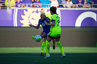 Orlando, Florida - Sunday, May 8, 2016: Orlando Pride midfielder Lianne Sanderson (10) during a National Women's Soccer League match between Orlando Pride and Seattle Reign FC at Camping World Stadium.