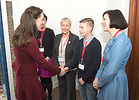 22 February 2017 - Prince Kate Duchess of Cambridge meets Craig Davies ,15 during a visit Action for Children projects supporting vulnerable families in Wales. This will be her first engagements with Action for Children since becoming its Patron in December, following on from Her Majesty The Queen. The Duchess visiting Torfaen to see MIST, a child and adolescent mental health project which works specifically with children who are living in care with foster families or birth families. Photo Credit: ALPR/AdMedia