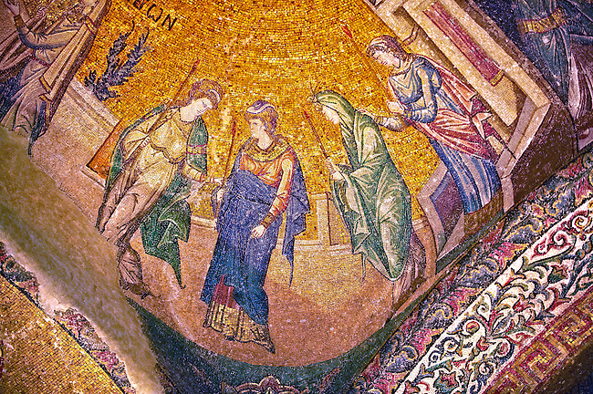 The 11th century Roman Byzantine Church of the Holy Saviour in Chora and its mosaic of the procession of the Virgins. Endowed between 1315-1321  by the powerful Byzantine statesman and humanist Theodore Metochites. Kariye Museum, Istanbul