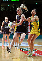 11.10.2017 Silver Ferns Shannon Francois and Australia's Kim Ravaillion in action during the Constellation Cup netball match between the Silver Ferns and Australia at Titanium Security Arena in Adelaide. Mandatory Photo Credit ©Michael Bradley.