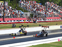 May 6, 2018; Commerce, GA, USA; NHRA top fuel driver Leah Pritchett (left) alongside Mike Salinas during the Southern Nationals at Atlanta Dragway. Mandatory Credit: Mark J. Rebilas-USA TODAY Sports