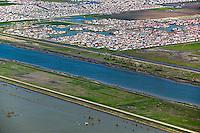 aerial photograph Sacramento, California ship channel, residential development