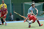 Mannheim, Germany, April 26: During the 1. Bundesliga Damen match between Mannheimer HC (red) and Uhlenhorster HC (light blue) on April 26, 2015 at Mannheimer HC in Mannheim, Germany. Final score 1-2 (0-2). (Photo by Dirk Markgraf / www.265-images.com) *** Local caption *** Lydia Haase #12 of Mannheimer HC