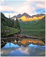 Maroon Bells at Sunrise, Maroon Bells / Snowmass Wilderness, Colorado