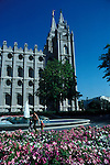 Utah, Salt Lake City, Temple Square..Photo # utsalt603.  Photo copyright Lee Foster.  .