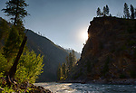Idaho, Central, Frank Church River of no Return Wilderness Area. The main Salmon in mid July at sunset.