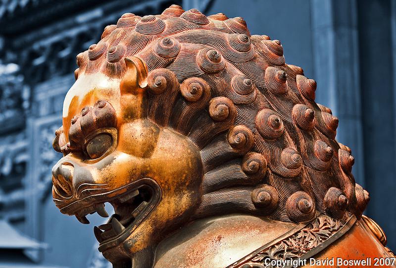 A bronze sculpture of a lion, guarding the Forbidden City in Beijing, China.