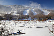 Snow making at Cannon Mountains during the winter months. This mountain is located in Franconia Notch State Park of New Hampshire.