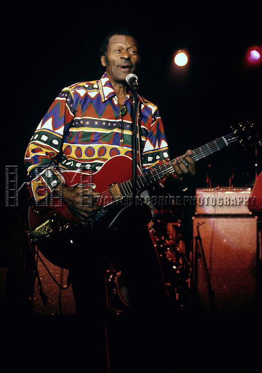 Chuck Berry performing at the Red Parrot in New York City. 1/4/1983