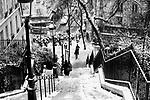 Paris, France. December 17th 2009..Snow Storm in Paris..Rue Maurice Utrillo (18th arrondissement)