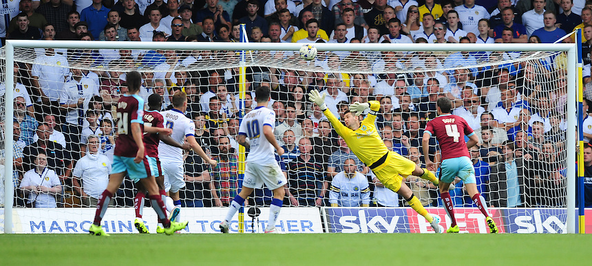 Burnley's Thomas Heaton is beaten by a shot from Leeds United's Mirco Antenucci conceding the first goal of the game<br /> <br /> Photographer Chris Vaughan/CameraSport<br /> <br /> Football - The Football League Sky Bet Championship - Leeds United  v Burnley - Saturday 8th August 2015 - Elland Road - Beeston - Leeds<br /> <br /> &copy; CameraSport - 43 Linden Ave. Countesthorpe. Leicester. England. LE8 5PG - Tel: +44 (0) 116 277 4147 - admin@camerasport.com - www.camerasport.com