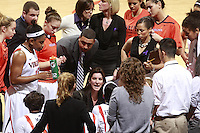 CHARLOTTESVILLE, VA- NOVEMBER 20: Head coach Joanne Boyle of the Virginia Cavaliers talks with her players during the game on November 20, 2011 against the Tennessee Lady Volunteers at the John Paul Jones Arena in Charlottesville, Virginia. Virginia defeated Tennessee in overtime 69-64. (Photo by Andrew Shurtleff/Getty Images) *** Local Caption *** Joanne Boyle