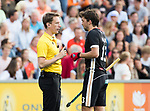 AMSTELVEEN - Umpire Jonas van 't Hek with Tobias Hauke (Ger) during the poulematch England v Germany (men) 3-4,Rabo Eurohockey Championships 2017.  WSP COPYRIGHT KOEN SUYK