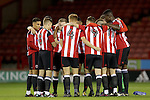 Sheffield united players group huddle  during the FA Youth Cup First Round match at Bramall Lane Stadium, Sheffield. Picture date: November 1st 2016. Pic Richard Sellers/Sportimage