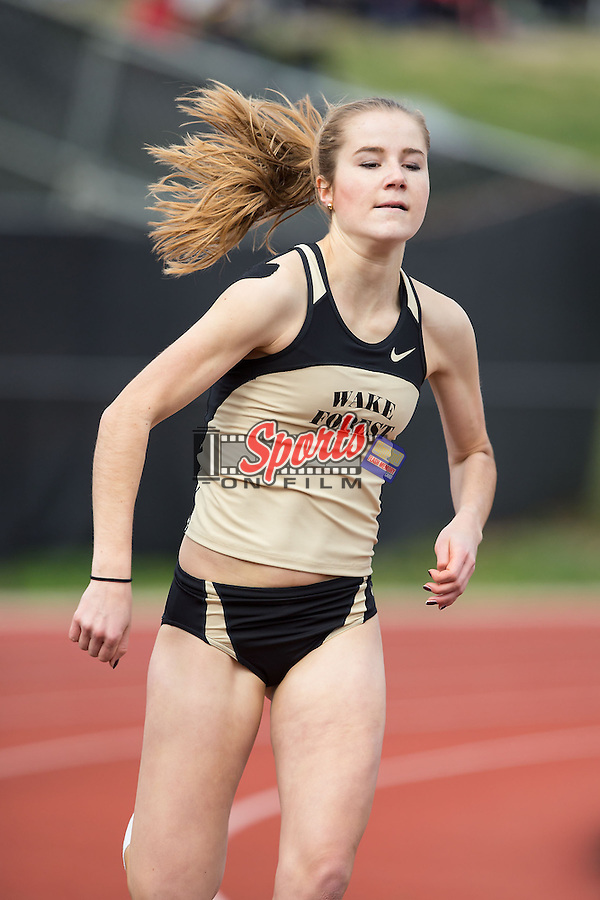 Lara-Ann Schwede of the Wake Forest Demon Deacons competes in the women's 400 meter race at the Wake Forest Open on March 20, 2015 in Winston-Salem, North Carolina.  (Brian Westerholt/Sports On Film)