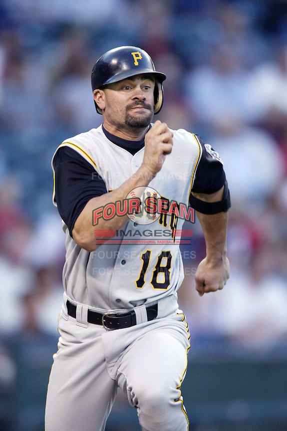 Jason Kendall of the Pittsburgh Pirates runs to first base during a 2002 MLB season game against the Los Angeles Angels at Angel Stadium, in Anaheim, California. (Larry Goren/Four Seam Images)